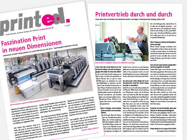 Aktuelle Ausgabe der Kundenzeitung printed